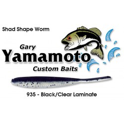 """Gary Yamamoto 4"""" Shad Shape Worm Black Clear Laminate with Large Black Flake"""