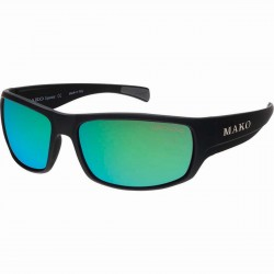 "Mako Sunglasses ""Escape"" Matte Black with Glass Rose Green Mirror Lens 9581-M01-G2H5"