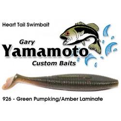 """Gary Yamamoto Heart Tail Shad Swimbait DARK GREEN PUMPKIN / AMBER LAMINATE 4.5"""""""