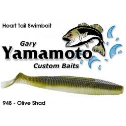"Gary Yamamoto Heart Tail Shad Swimbait Olive shad  4.5"""
