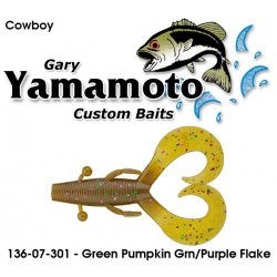 "Gary Yamamoto Cowboy Green Pumpkin Green & Purple Flake 3.75"""
