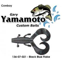 "Gary Yamamoto Cowboy Black Blue Flack 3.75"""