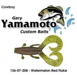"Gary Yamamoto Cowboy Watermelon Red Black 3.75"""