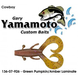 "Gary Yamamoto Cowboy Green Pumpkin Amber Laminate 3.75"""
