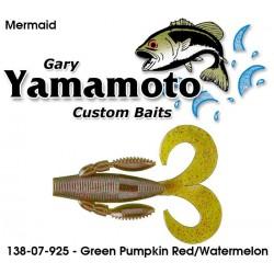"""Gary Yamamoto Mermaid Green Pumpkin Red/Watermelon3.75"""""""