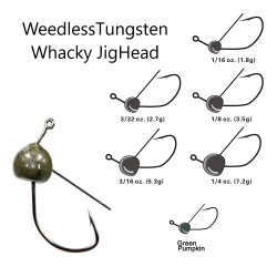 Vike Tungsten Weedless Whacky Jig Head 1/4 Oz Green Pumpkin