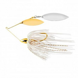 WAR EAGLE GOLD FRAME DOUBLE WILLOW SPINNERBAIT- WHITE GOLD - 1/4 OZ