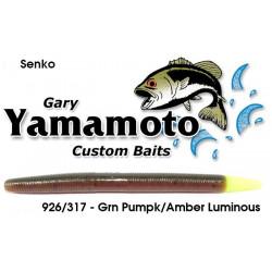 Gary Yamamoto Yamasenko Green Pumpkin Amber Laminate w Luminous Tail Senko