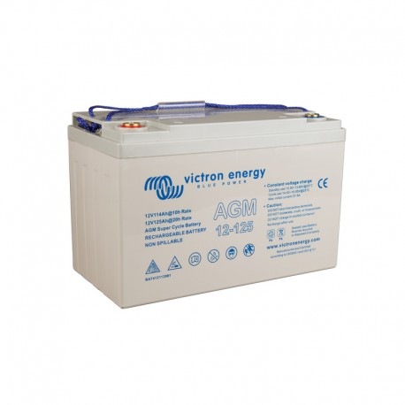 Victron 125 Ah 12 V Super Cycle AGM Sealed Lead Acid Battery with threaded insert terminals (M8)