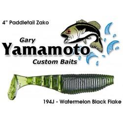 """Yamamoto 4"""" Paddle Tail ZAKO Watermelon Black Flake"""