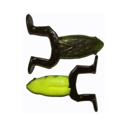 "Big Bite Baits Floatin Toad Green Pumpkin Opaque Chartreuse Green Pumpkin Legs 3.5"""