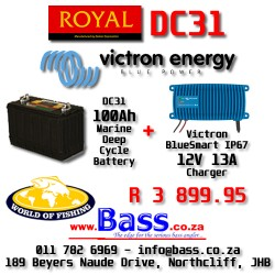 12V 13 A Victron IP67 BlueSmart Charger PLUS Royal DC31 Marine Deep Cycle Battery Combo