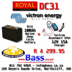 12V 15A Victron IP65 BlueSmart Charger PLUS Royal DC31 Marine Deep Cycle Battery Combo